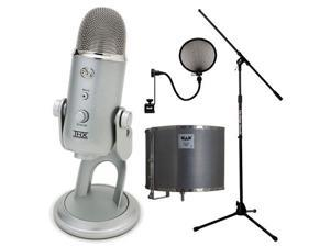 Blue YETI USB Microphone by Blue Microphones - Audio Microphone Pop Filter + Acoustic-Shield 32 Stand Mounted Acoustic Enclosure and Euro Boom Microphone Stand