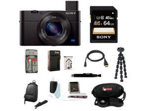 Sony RX100 DSC-RX100M III Cyber-shot Digital Still Camera with Sony 64GB SDHC Class 10 Memory Card and Sony LCSCSUB LCS-CSUB Case Black + Best Camera Kit
