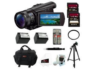 SONY AX100: Sony FDR-AX100/B FDRAX100 AX100 4K Ultra HD Camcorder (Black) + Sony 64GB SDXC Memory Card + 67mm UV Protector + Power Battery + Accessory Kit