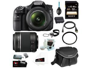 "Sony SLT-A58K SLT-A58 with 18-55mm Zoom Lens, 20.1MP DSLR Camera w/ 2.7"" LCD Screen (Black) + Sony SAL-552002 DT 55-200mm f/4-5.6 Telephoto Lens + Sony   32GB Memory Card + Sony Case + Accessory Kit"