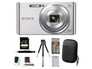 Sony DSCW830 DSCW830 W830 20.1 Digital Camera with 2.7-Inch LCD (Silver) 32GB Bundle