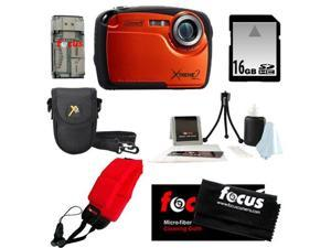 Coleman C12WP 16MP/HD Waterproof Camera (Orange) + 16GB SD HC Memory Card + Point & Shoot Camera Case + Accessory Kit