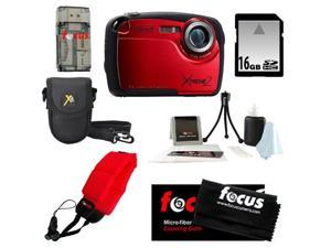 Coleman C12WP 16MP/HD Waterproof Camera (Red) + 16GB SD HC Memory Card + Point & Shoot Camera Case + Accessory Kit