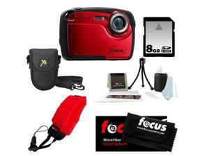 Coleman C12WP 16MP/HD Waterproof Camera (Red) + 8GB SD HC Memory Card + Point & Shoot Camera Case + Accessory Kit