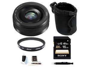 Panasonic Lumix G H-H020AK 20mm F/1.7 II ASPH Lens (Black) with 16GB Accessory Bundle