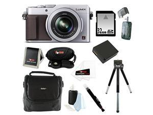 Panasonic LUMIX LX100 16.8 MP Point and Shoot Camera with Integrated Leica DC Lens (Silver) Bundle with 32GB SD Card + Gadget Bag + Replacement Battery for Panasonic DMW-BLG10 and Camera Accessories