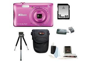 Nikon S3700 COOLPIX Camera (Pink) with 16GB Kit