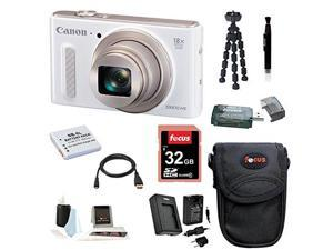 CANON SX610: Canon PowerShot SX610 IS Digital Camera HS Digital Camera (White) with 32GB Deluxe Accessory Bundle