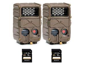 Two CUDDEBACK E2 Long Range IR Infrared Micro Trail Game Hunting Cameras with Two 16GB Memory Card