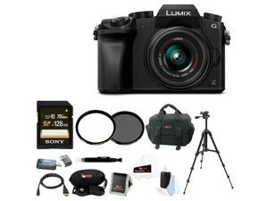 Panasonic LUMIX G7 Camera with Sony 128GB SDXC Card and Deluxe Accessory Bundle