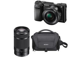 Sony a6000: Sony a6000 24.3 MP Mirrorless Camera with 16-50mm & 55-210 Lens(Black) Bundle