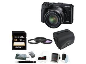 Canon EOS M3 Digital Camera with EF-M 18-55mm Lens (Black) + 16GB Deluxe Bundle