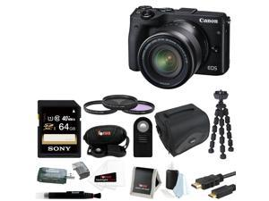 Canon M3: Canon EOS M3 Mirrorless Camera with EF-M 18-55mm Lens (Black) + Sony 64GB SD Card + 52mm Filter Kit + DSLR Case and Deluxe Accessory Bundle