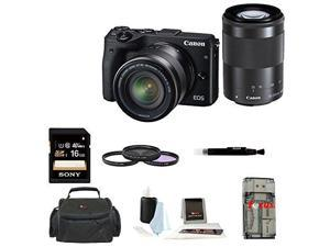 Canon EOS M3 Mirrorless Digital Camera with EF-M 18-55mm & 55-200mm Lens Bundle