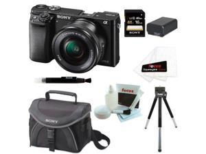 Sony a6000: Sony Alpha a6000 24.3 Interchangeable Lens Camera with 16-50mm Lens & 16GB SDHC Accessory Bundle