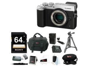 Panasonic DMC-GX8SBODY LUMIX GX8 (DSLM) Camera Body (Silver) + Deluxe SD Bundle