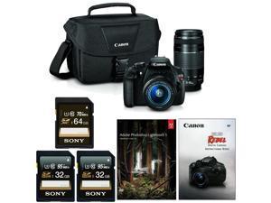 Canon EOS Rebel T5 DSLR Camera w/ 18-55mm & 75-300mm Lenses & Adobe Lightroom Bundle