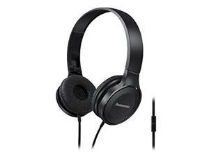 Panasonic Lightweight On-Ear Headphones with Mic + Controller (Black)