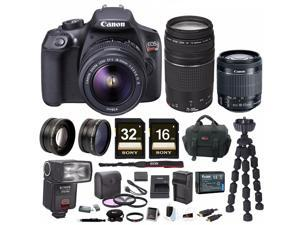 Canon EOS Rebel T6 18.0 MP DSLR Camera w/ 18-55mm & 75-300mm Lenses & Gadget Bag with 48GB Bundle