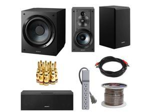 Sony SACS9 10-Inch Active Subwoofer (Black) Bundle with Sony SSCS5 3-Way 3-Driver Bookshelf Speaker System and Sony SSCS8 2-Way 3-Driver Center Channel Speaker (Black)