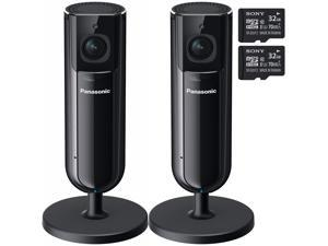 2 Panasonic Home Monitoring HD Camera, Privacy Shutter w/ (2) 32GB Memory Card