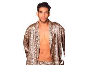 Lovely Day Lingerie Men's Animal Leopard Print Short Pant Robe Set