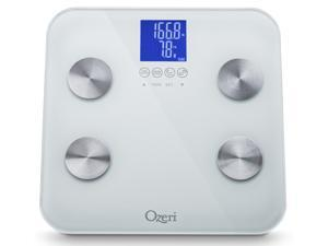 Ozeri ZB13-W2 Touch 440 lbs Total Body Bath Scale in White – Measures Weight, Fat, Muscle, Bone & Hydration with Auto Recognition and Infant Tare Technology