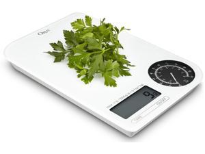 Ozeri Rev Digital Kitchen Scale with Electro-Mechanical Weight Dial, White with Black Dial