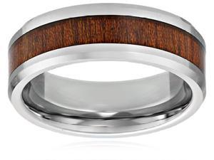 INOX Men's Titanium Wedding Band with Wood Inlay Size 12