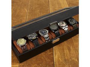 J.G. Raines Fiducia 6-pc Watch Box - Black Leather (MSRP:$55)