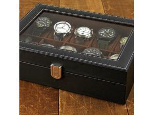 J.G. Raines Dominus 10-pc Watch Box - Black Leather (MSRP:$70)