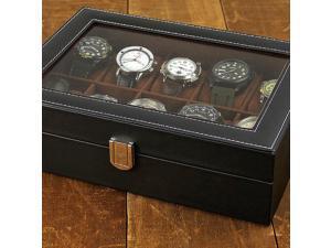 J.G. Raines Dominus 10-pc Watch Box - Black Leather (MSRP:$70)