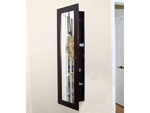Pebble Beach Espresso Jewelry Armoire - Wall-Mounted - Mirror (MSRP:$299)