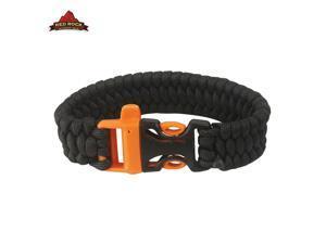 "Military Surplus-style Red Rock 9"" Survival Bracelet/Whistle-Black"