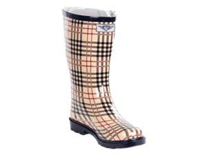 Women Mid-Calf Beige Plaid Rubber Rain Boot