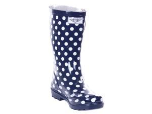 Women Mid-Calf Polka Dots Rubber Rain Boot