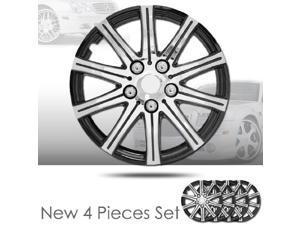 """15"""" 10 Spikes Silver Hubcap Covers with Black Rim Brand New Set of 4 Pieces 528"""