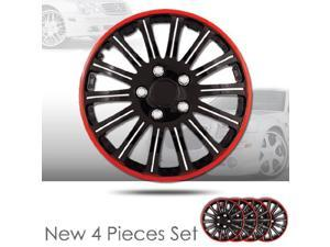 """15"""" 14 Spikes Black Hubcap Covers with Red Rim Brand New Set of 4 Pieces 527"""