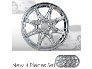 """14"""" 8 Spikes Chrome Finished Hubcap Covers Brand New Set of 4 Pieces 14 Inch Rim Cover 530"""