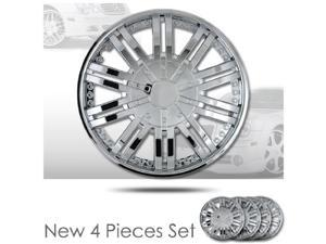 """15"""" 10 Spikes Chrome Finished Hubcap Covers Brand New Set of 4 Pieces 15 Inch Rim Cover 529"""