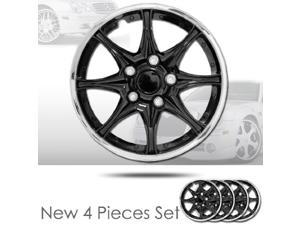 """14"""" 8 Spikes Black Hubcap Covers with Chrome Rim Brand New Set of 4 Pieces 522"""