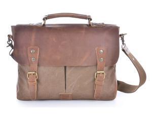"Gootium 21108BR High Density Canvas Full Grain Leather Messenger Bag For 14"" Laptop - Coffee"