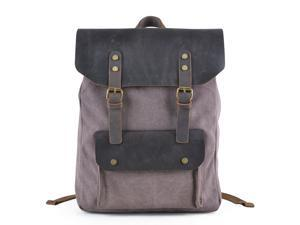 "Gootium 30205CF Canvas Full Grain Leather Backpack For 15.6"" Laptop,Coffee - Shipped from US"