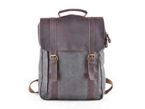 "Gootium 30520GRY Canvas Backpack For 15.6"" Laptop With Genuine Leather Trim - Grey"