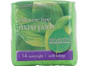 Seventh Generation Chlorine Free Maxi Pads Overnight with Wings 14 Pads Case of