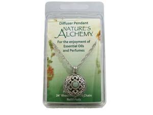 Nature's Alchemy: Celtic Green Amazonite Antiquity Diffuser Pendant Necklace