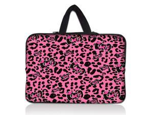 """Pink Leopard bow 14"""" 14.4"""" inch Notebook Laptop Case Sleeve Carrying bag with Hide Handle for Lenovo Y480/ASUS A43 N46 X84/Samsung 530 Q470/DELL Inspiron 14R Vostro 1450/HP DV4/Thinkpad E420"""