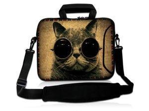 "Cool Cat Sunglasses 16"" 17"" 17.3"" 17.6"" inch Laptop Shoulder Bag Sleeve Case for Apple MacBook pro 17/Dell Inspiron 17R XPS Alienware M17x/Samsung 700/Sony Vaio E/HP dv7 ENVY 17/Asus G74 K73 N75 A93"