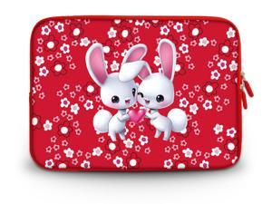 "CorlfulCase® 9.7"" 10"" 10.2"" inch Laptop Netbook Tablet Case Sleeve Carrying bag with Hide Handle For iPad/Asus EeePC/Acer Aspire one/Dell inspiron/Samsung N145/Lenovo S205/HP Touchpad Mini Cute bunny"