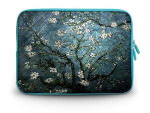 "CorlfulCase® 9.7"" 10"" 10.2"" inch Laptop Netbook Tablet Case Sleeve Carrying Bag For iPad/Asus EeePC/Acer Aspire one/Dell inspiron/Samsung N145/Lenovo S205/HP Touchpad Mini BLU WHI Flower"